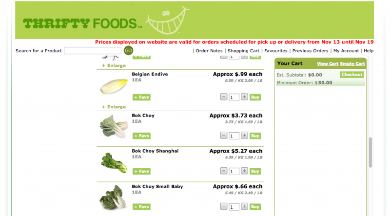 Online grocery shopping at Thrifty Foods